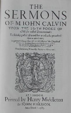 Title page from Calvin's Sermons on Deuteronomy, in which Calvin referred to Islam and the papacy as the two horns of antichrist